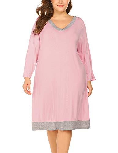 (IN'VOLAND Women's Sleepshirts V Neck Nightdress Rose)