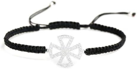 Sideways Cross Charm CZ Crystal Black Onyx 925 Sterling Silver Stretch Bracelet