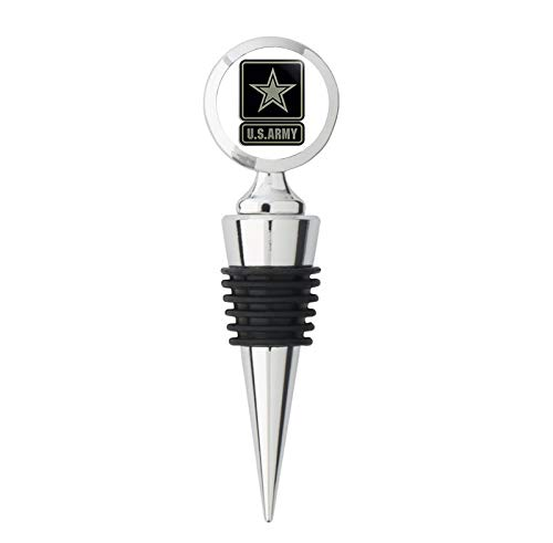 - 2 Piece US Army Logo Black & Green Subdued Color (US army military) Metal Wine Bottle Stopper