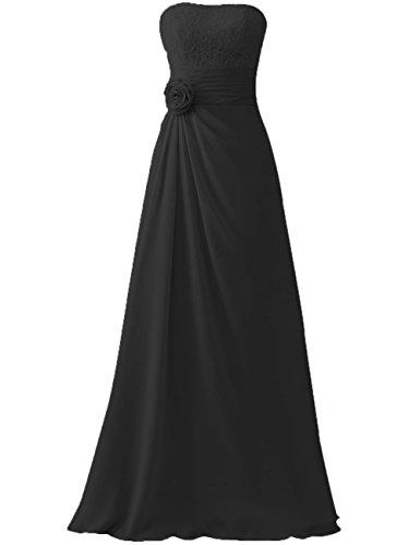 HUINI Cord¨®n Flor Largo Gasa Paseo Vestidos de dama de honor Sin tirantes Boda Fiesta Formal Vestidos Negro