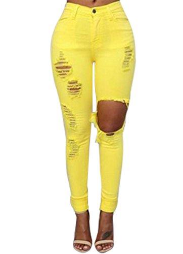 YiLianDa Pantalones Elásticos Skinny Slim Vaqueros Leggings Jeans Para Mujer Amarillo