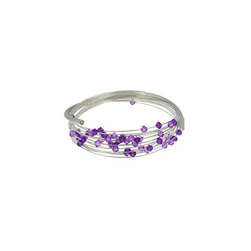 Les Poulettes Bijoux - Bracelet Multifils Argent Perles de Cristal de Swarovski Violet