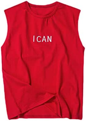 Mens Summer Basic Cotton Athletic-Fit Embroidery Casual Tech Tank