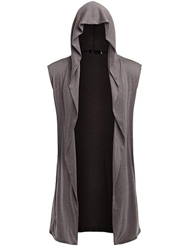 RAGEMALL Mens Sleeveless Long Cardigan Open Front Draped Lightweight Hooded Sweater with Pockets Brown_XL