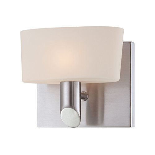 1l Vanity Light (Toby 1L Wall Lamp W7 W/Satin Nickel With Wh Opal Gl. 1Xg9 40W P/Nickle)
