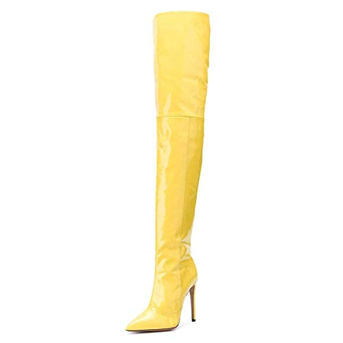 (FSJ Women Fashion Pointed Toe Stiletto Heel Thigh High Over The Knee Boots Pull On Side Zipper Patent Leather Winter Shoes Size 15 Yellow)