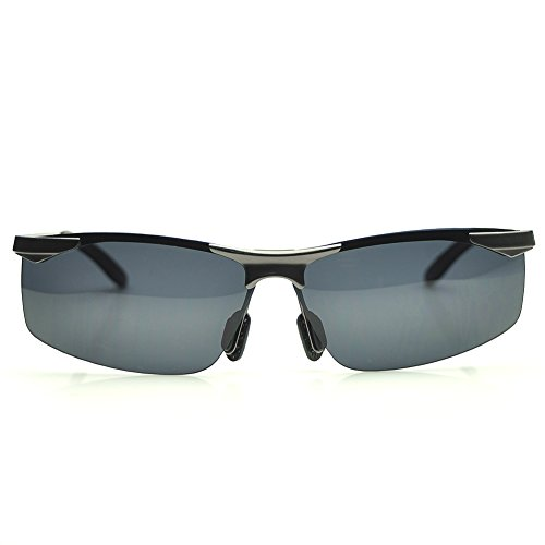 PenSee A147 Mens Fashion Rectangular Metal Polarized Sunglasses