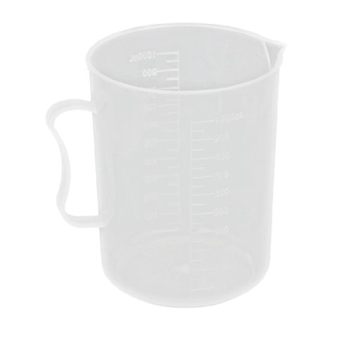 uxcell® Laboratory Chemistry Set Clear White Plastic Cup Beaker 1000mL