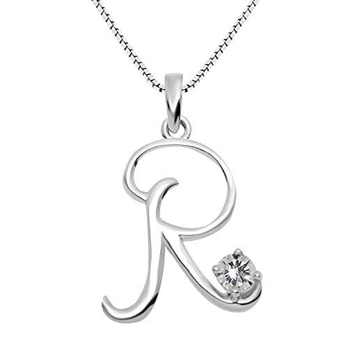 - JewelExclusive Sterling Silver .05 cttw White Diamond Initial R Pendant