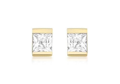 Jewellery World Bague en or jaune 9carats 4mm Boucles d'oreilles clous Femme-Pierre