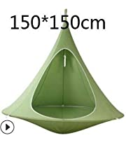 Teepee Tree Pod Kids Baby Swing Hammock Children Camping Chair Indoor Outdoor Hanging Chairs Seat Bonsai Double Single Tent Gift : Green 150cm