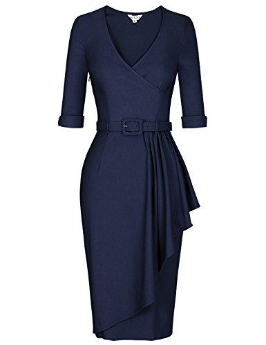 (MUXXN Lady Gorgous Wrap V Neck Tie Waist Knee Length Juniors Brides Dress (Blue)