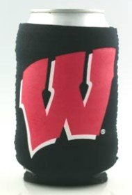 NCAA Wisconsin Badgers Can Holder Red Sports Fan Cold Beverage Koozies, Team Color, One Size