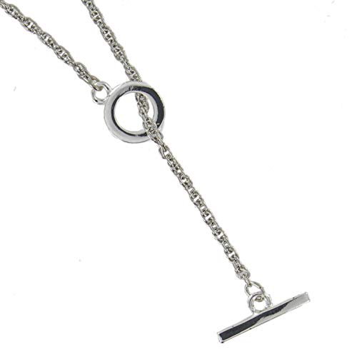 Toggle Y Necklace Rope Chain Silver Tone Lariat 18