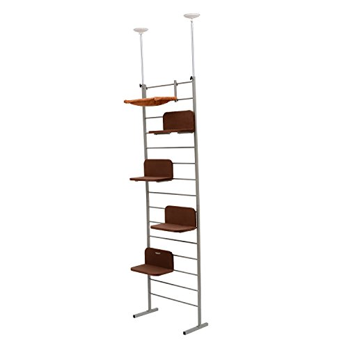 "PawHut 116"" Floor-to-Ceiling Adjustable Staggered Climbing Cat Tree Tower"
