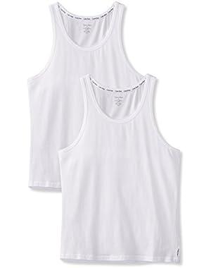 Men's 2 Pack Cotton Stretch Vests, White