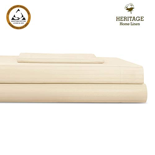 Heritage Home Linen Bed Sheet Set,3 Piece Set,Egyptian Cotton Blend 800 Thread Count Twin XL- Pinstripes Sateen Weave,Deep Pockets upto 18 Inch Fit,Wrinkle,Fade,Stain Resistant,Twin XL,Taupe Stripe