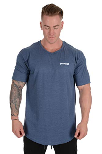 YoungLA Mens Long Ring-Spun Cotton T-Shirts Lightweight Muscle Tee Shirts 401 Blue XX-Large