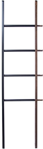 Hub Wood (Umbra Hub Ladder – Adjustable Clothing Rack for Bedroom or Freestanding Towel Rack for Bathroom | Expands from 16 to 24 inches with 4 Notched Hooks, Black/Walnut)