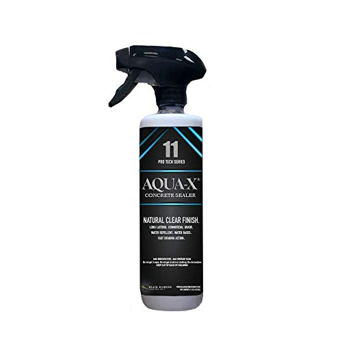 - 16 Ounce AQUA-X 11 Concrete Sealer, Clear, Penetrating Sealer; Silicone, Water Repellant for Driveways, Patios, Retaining Walls, Cement Tiles and More