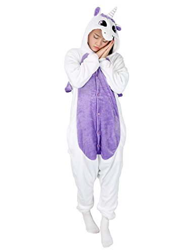 Whole Halloween Costumes - Adult Onesie Animal Unicorn Pajamas Sleepwear Kigurumi Cosplay Halloween Costume (XL (height 181-187 CM), Purple)