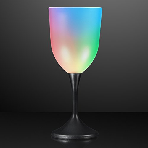Light Up Frosted Wine Glass with Black Base & Color Changing LED Lights -