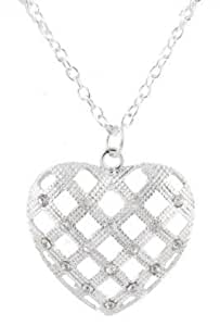 8 Pieces of Ladies Silver Iced Out Basket Weave Heart Style Pendant with a 27 Inch Link Chain Necklace