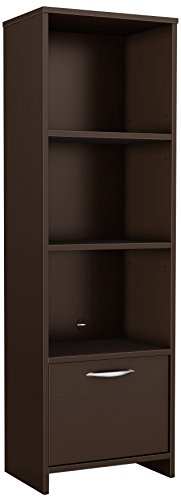 South Shore 3159652 Narrow 3-Shelf Storage Bookcase with Door, Chocolate