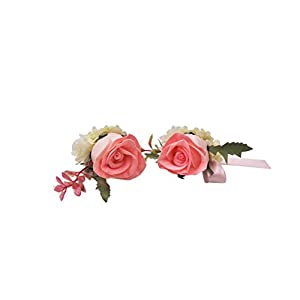 Abbie Home Real Touch Prom Corsage Boutonniere Set Flower Pin Wristlet for Party-Pink 1