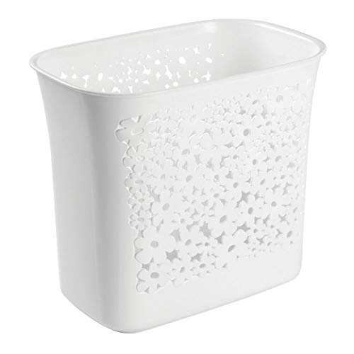mDesign Decorative Oval Trash Can Wastebasket, Garbage Container Bin for Bathrooms, Powder Rooms, Kitchens, Home Offices - Flower Design - Clear