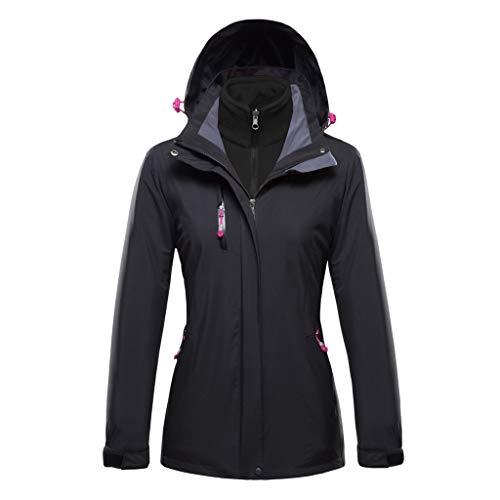 Keepmove Coat for Women Winter Sale, Women's Plus Size Waterproof Hoodie Hat Detachable Breathable Sport Outdoor Coat(Black, XXX-Large) (Plus Size Ruffle Coat)
