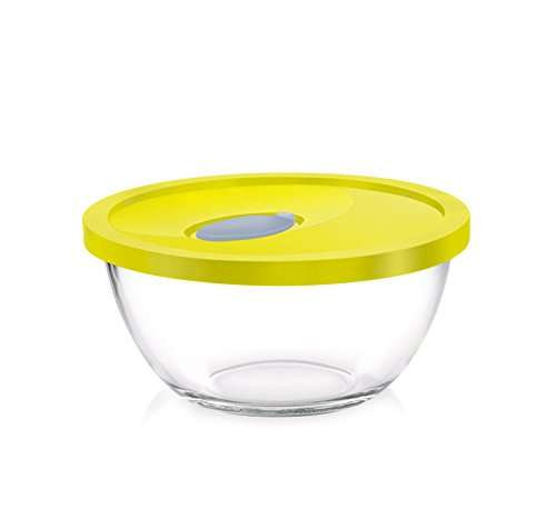 Rising Star Glass Treo Mixing Bowl with Flexi Lid  1000 ml, Yellow