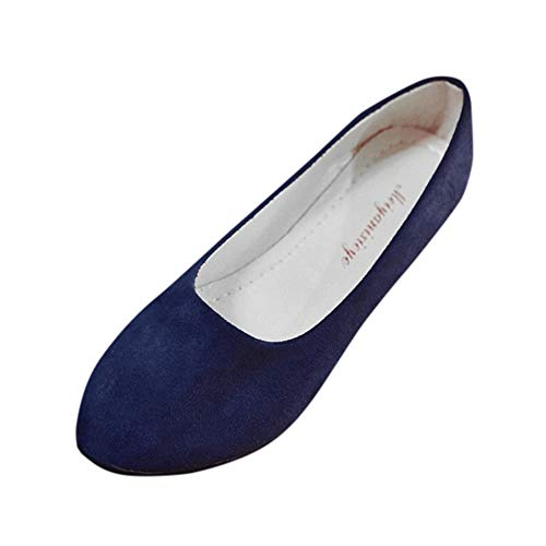 (Aunimeifly Women Simple Solid Color Slip On Flats Ladies Round Toe Shoes for Work Casual Ballerina Shoes Sandals Dark Blue)
