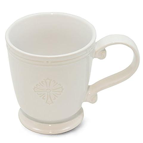 Miss Bella Irish Coffee Mug Embossed Floral Patterns White Porcelain 8-Ounce - 8 Ounce Cafe Mug