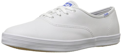 Keds Women's Champion Original Leather Lace-Up Sneaker, White Leather, 7.5 W US