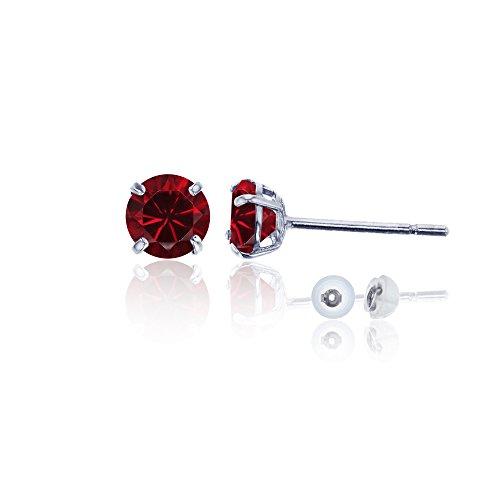 10k Gold Birthstone Dangles - 14K White Gold 6mm Round Gemstone Stud Earring (Ruby)