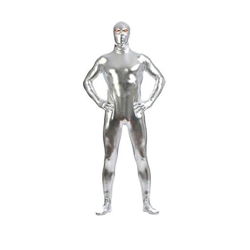 Ensnovo Mens Shiny Metallic Unitard Zentai Suit with Eyes Open