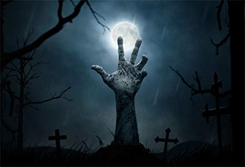 Leyiyi 10x8ft Gothic Happy Halloween Backdrop Zombie Hand in Graveyard Grave Stone Cross Full Moon Gloomy Sky Bare Trees Photography Background Horror Costume Carnival Photo Studio Prop Vinyl Banner -