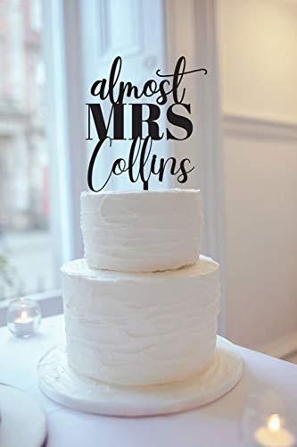 Almost Mrs Laser Cut Bridal Shower Wedding Cake Topper, Engagement Decor,Party Event Favors Decorations