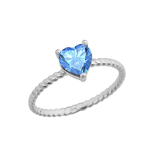 (Dainty 10k White Gold Heart-Shaped Blue Topaz Solitaire Rope Engagement/Promise Ring (Size 5.5))