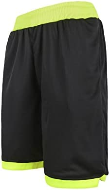 ショートパンツ メンズ スポーツ ハーフパンツ FOR ランニング フィットネス 10色 [メンズ] (イーヨウ)EU ブラック・ライトグリーン XL