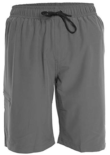 Men's Boardshorts - L - Gray - Perfect Swimsuit, Swim Trunks, Board Shorts, Workout or Athletic Shorts for The Beach, Lifting, Running, Surfing, Pool, Gym. for Adults, Men's Boys