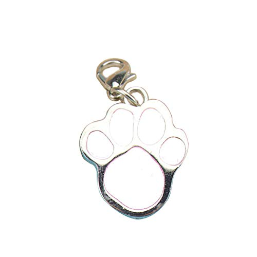 YuYe-xthriv Paw Dog Puppy Cat Anti-Lost ID Name Tags Collar Pendant Charm Pet Accessories White - Nfl White Charms