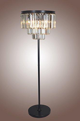 """21"""" Vintage Rustic Crystal Floor LAMP, Clear Glass Fringe 3-Tier Chandelier,Antique Black Finish Rostoration Style, Dinning Room"""