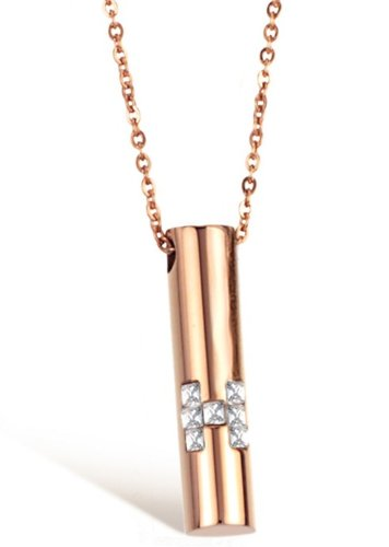 Fekkai Titanium Stainless Steel Rose Gold Plated Cylindrical Assort H With Crystal Women Pendant Necklace (Fekkai Rose)