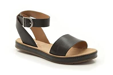 538f6f8feb2 Clarks Womens Romantic Moon Black Leather Casual Sandals Shoes ...