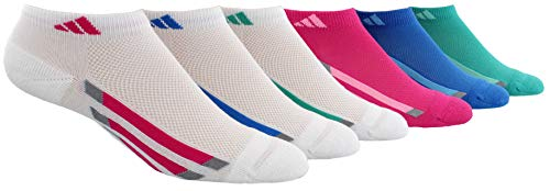 adidas Youth Kids-Girls Cushioned Low Cut Socks (6-Pair), White/Shock Pink/Bright Blue/Shock Mint/Light Onix, Medium, (Shoe Size 13C-4Y)