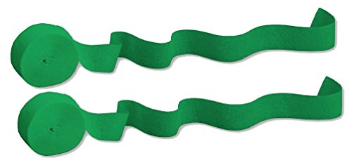 Green Paper Streamers (2 Pack - Touch of Color Crepe Paper Streamer Roll, 81-Feet each (162 total feet), Emerald Green)