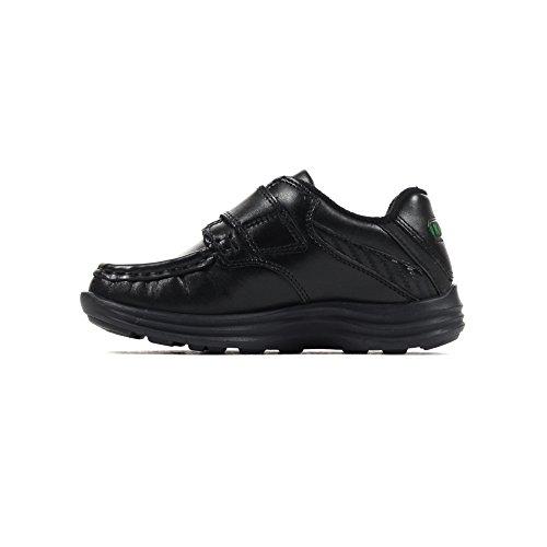 Kickers Reasan Lanière Cuir Enfant Garçon Chaussures Noires