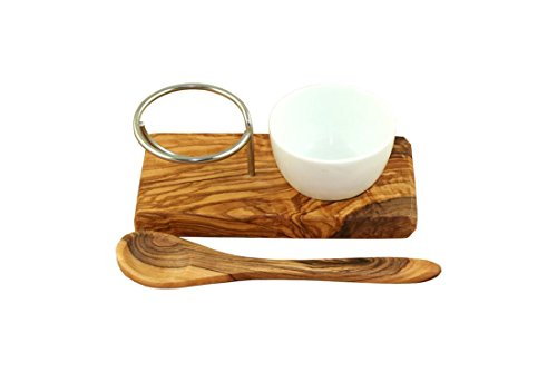 Egg cup made of olive wood and stainless steel with porcelain bowl plus egg spoon by DOM by DOM (Image #2)